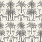 Fern Garden by Makower UK - 6284 - Palm Trees & Animals, Grey on Off White - 2073_S - Cotton Fabric